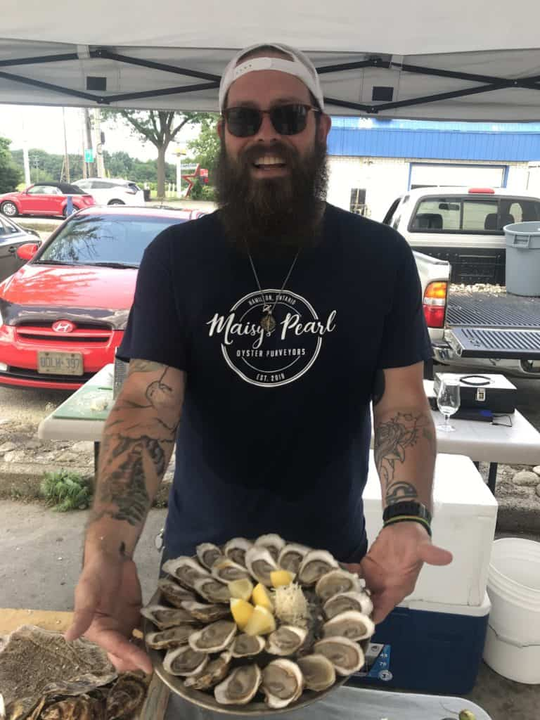 David Burns with a plate of oysters